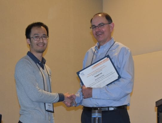 Feiyue Lu, a graduate student in Dave Gilmour's lab, won the BBA-Gene Regulatory Mechanisms Poster Award at the 2018 ASBMB Symposium on Transcriptional Regulation by Chromatin and RNA Polymerase II held in Snowbird UT October 4th-8th.